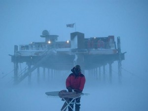 Extreme ironing in the arctic circle.