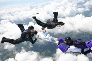 Serious dedication from these extreme ironing sky divers.